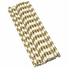 12 PC Dark Gold and White Stripes Cake Pop Straws | Bakell®