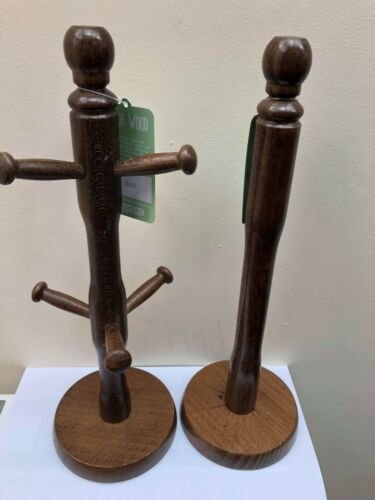 New Kitchen Wooden 6 Cup Mug tree and Paper Towel Roll Holder Stand Rack