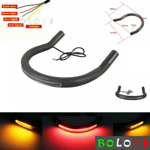 1pc Rear Seat Frame Hoop with LED Brake Turn Signal Light 217mm For Cafe Racer