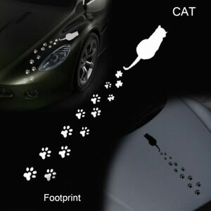 Dibujos-animados-pegatinas-coche-huellas-de-gato-Etiqueta-de-vinilo-de-Windows