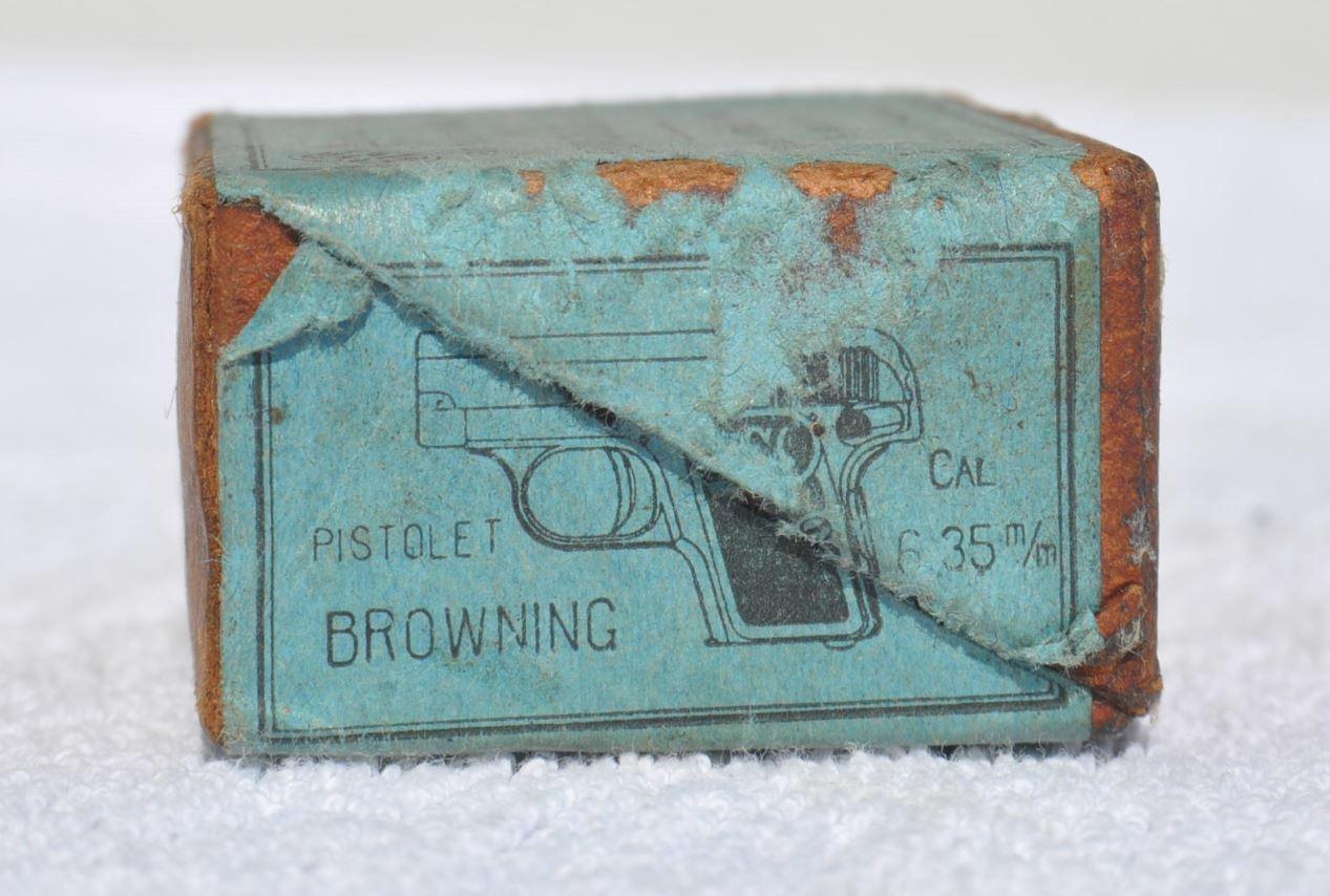 1930s Belgium marrónING 6.35 mm Shell cartucho de munición pistola vacía Caja Rareza