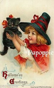 Fabric-Block-Vintage-Halloween-Postcard-Image-Small-Witch