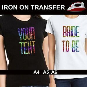 Sparkle Rainbow Iron On Fabric Heat Transfer T Shirt Hen Do Stag Party Crew Tee
