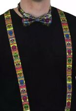 Multicolour Sugar Skull//Day Of The Dead Trouser Braces