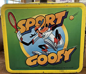 1983 Aladdin 3-D Sport Goofy Metal Lunch Box W/Thermos