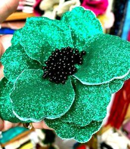 "Millinery Flower 4"" Glitter Cloth 1pc Hair Accessory  Emerald Clip/ Pin Stamens"