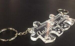 Personalised jigsaw keyring wedding anniversary valentine