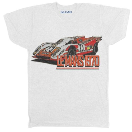 Le Mans 1970 Racing McQueen Rétro Motard Classique Racer Voiture Blanc T Shirt