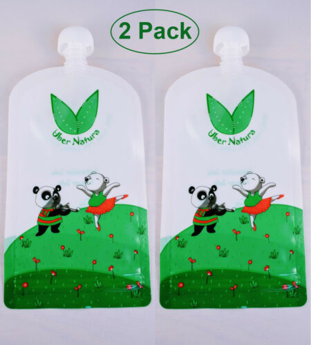 2 Pack TWO Uber Natura Kids/' Reusable Refillable Homemade Food Pouches