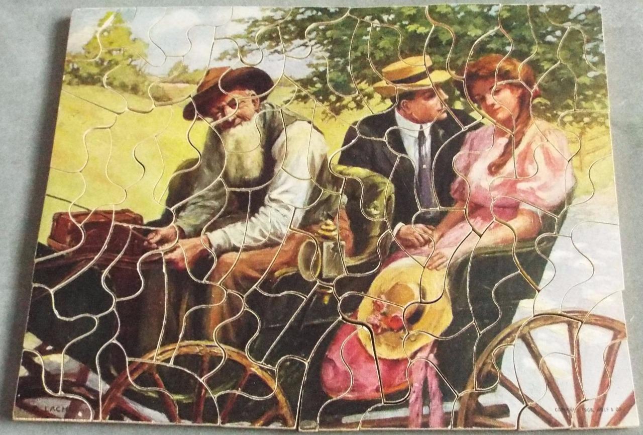 Aucun aussi aveugle antique BON MARCHE Non Verrouillage 1906 wooden jigsaw puzzle