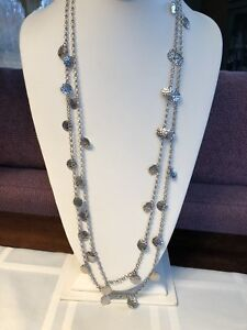 Vintage Silver Long Textured Coin Necklace 30 Inches