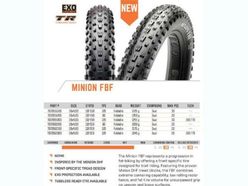 FAT//MTB MAXXIS MINION MOUNTAIN BIKE TYRE - EXO Tubeless