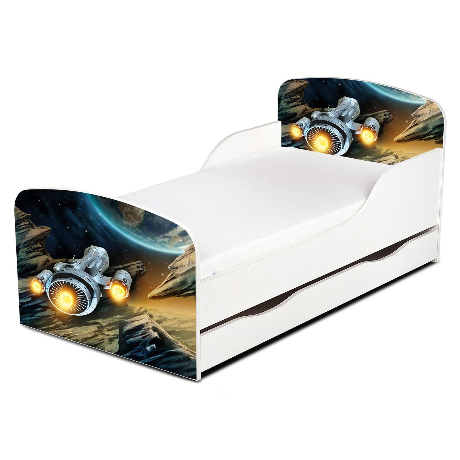 Pricerighthome cama del niño nave espacial con paneles de laterales de paneles protección y almacenamiento de información 605436