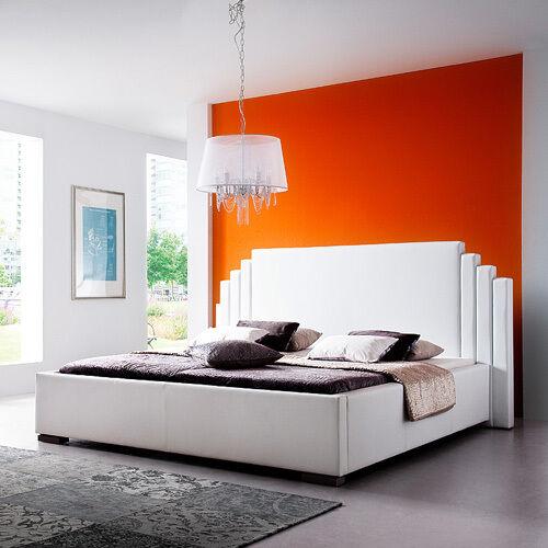GHOST Polsterbett Kunstlederbett Bett Futonbett Designbett  - 140 x 200 cm Weiß