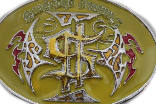 New Men Western Biker Belt Buckle Silver Metal Yellow Famous Choppers Motorcycle