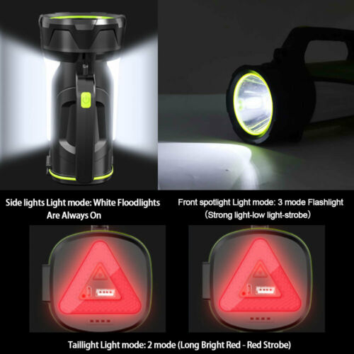 15000Lumen LED High Power Searchlight Outdoor Flood Spotlight Rechargeable Torch