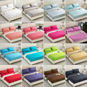 Solid-Color-Flat-Fitted-Sheet-Bed-Cover-Coverlet-Single-Double-Full-Queen-5-Size