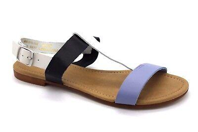 Siguiente para mujer UK 6 EU 39 Dos Tonos Azul Y Blanca De Cuero Sandalias Planas De Charol Nuevo