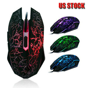 Professional-Colorful-Backlight-4000DPI-Optical-Wired-Gaming-Mouse-Mice-US-Stock