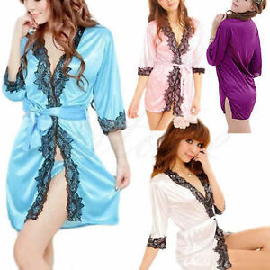 47eabb4fb2 Sexy Women Night Bath Robe Dress Ladies Lingerie Sleepwear Silk ...