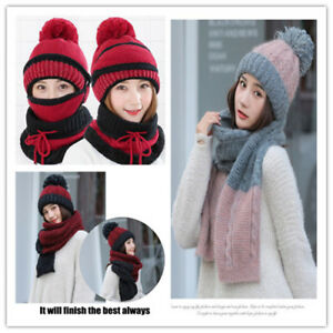 a89cb962b28 3Pcs Women Scarf and Hat Set Winter Warm Knitted Beanie Scarves ...