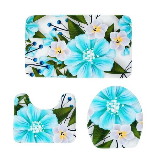 3pcs Wild Daisy Bath Mat Set Anti Slip U Shape Floor Rugs Home Bath Toilet Cover