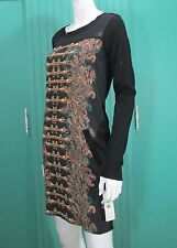 Anthropologie Cluny Dress Silk Tunic Black Printed Long Sleeve