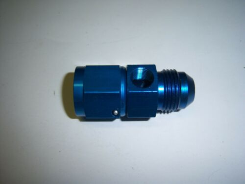 8AN MALE TO 8AN FEMALE NITROUS OIL FUEL GAUGE FITTING WITH 1//8 NPT PORT BLUE
