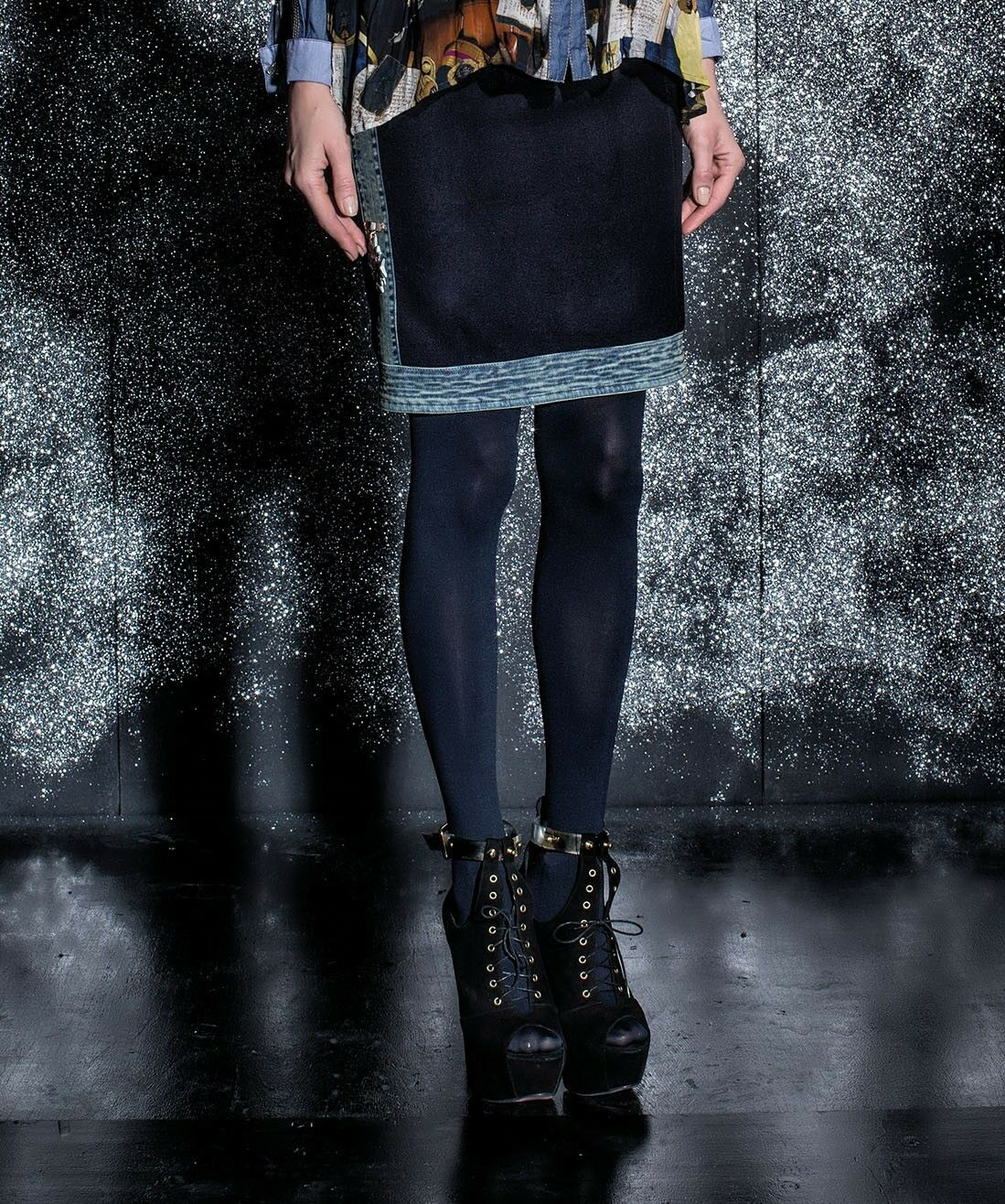 ELISA CAVALETTI Rock Skirt Denim Ingiallito Gr. M Herbst Winter 2016 2017