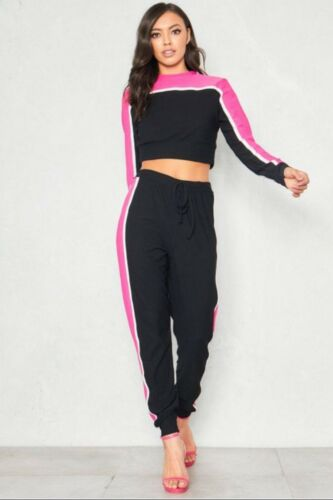 Womens Ladies Striped Block Contrast Loungewear Tracksuit Co Ord Set Jogger Top