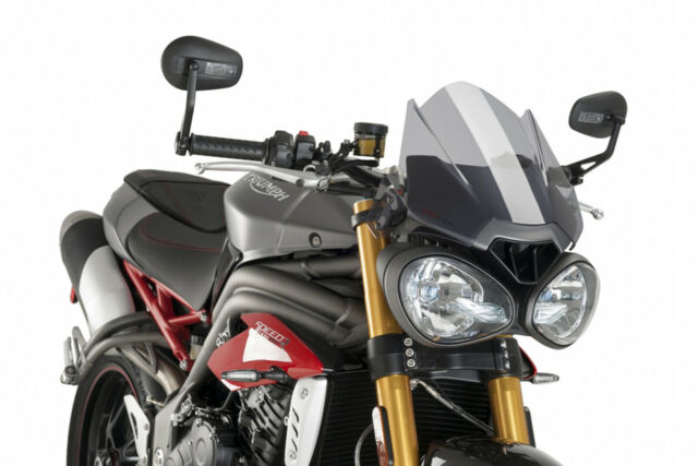 PUIG NAKED WINDSHIELD N.G. SPORT FOR TRIUMPH STREET TRIPLE R/RS 17-19 LIGHT SMOK