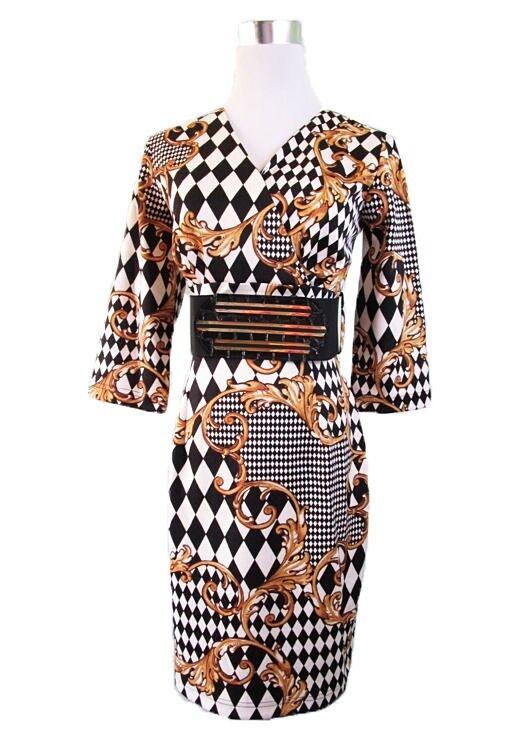 damen New Party Evening Formal Casual Print Baroque Pencil Dress sz 12 M X20