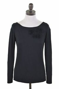 ANN-TAYLOR-haut-femme-chemisier-manches-longues-taille-6-XS-en-Coton-Noir-CT05