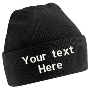 94ca6ca5785 Image is loading Personalised-Adult-Cuffed-Woolly-Knit-Ski-BEANIE-HAT-