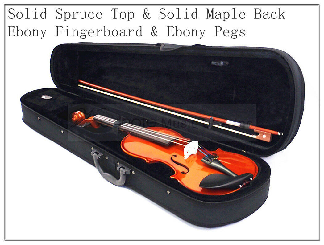 4 4 New Solid Wood Violin 2 Bow Rosin Case string sets