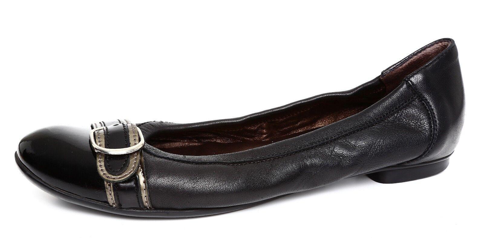 economico online Attilio Giusti Giusti Giusti Leombruni Buckle Ballet Donna  nero Leather Flat Sz 37.5 1031  fino al 60% di sconto