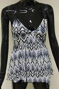 Morgan-De-Toi-womens-silver-blue-v-neck-ribbon-strap-cami-vest-top-size-XS-M
