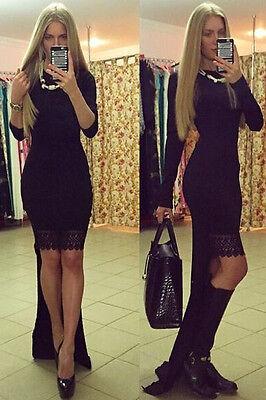 ♥ XXL langes Maxikleid Abendkleid Vokuhila mit Schleppe Ball schwarz Gr. L 40/42