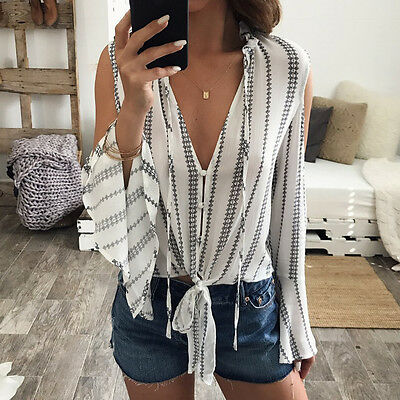 Women Chiffon V-Neck Loose Long Sleeve Printed Tops Off Shoulder Casual Blouse