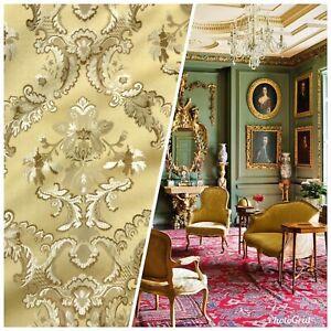 110-Wide-SALE-Designer-Brocade-Jacquard-Fabric-Mustard-Yellow-Gold-Damask