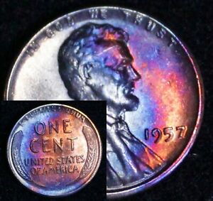 UNCIRCULATED-1957-P-BU-49b-VIBRANT-Rainbow-MONSTER-Toned-Penny-Wheat-Cent