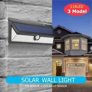 118-Luce-Solare-LED-con-Sensore-di-Movimento-Faretto-Esterni-Lampada-da-Giardino