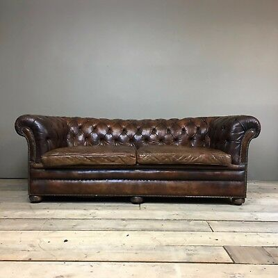 EARLY 20TH CENTURY LEATHER CHESTERFIELD SOFA - HORSEHAIR - ANTIQUE VINTAGE 1920s