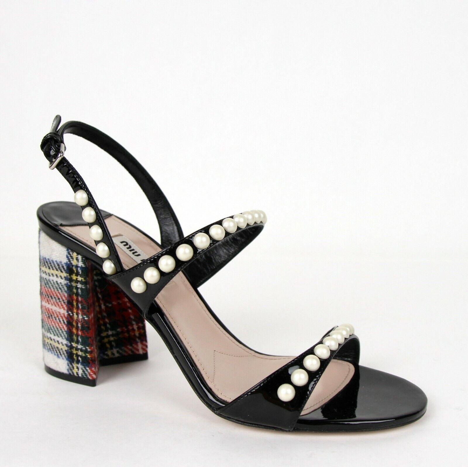 Miu Miu Damen Schwarzes Lackleder Sandalen mit Perle 38  US 8 5X142B