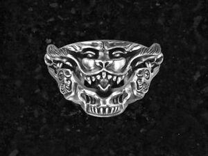 Antique-Heavy-Lion-Men-039-s-Biker-Engagement-Ring-In-Oxidized-925-Silver-Sterling