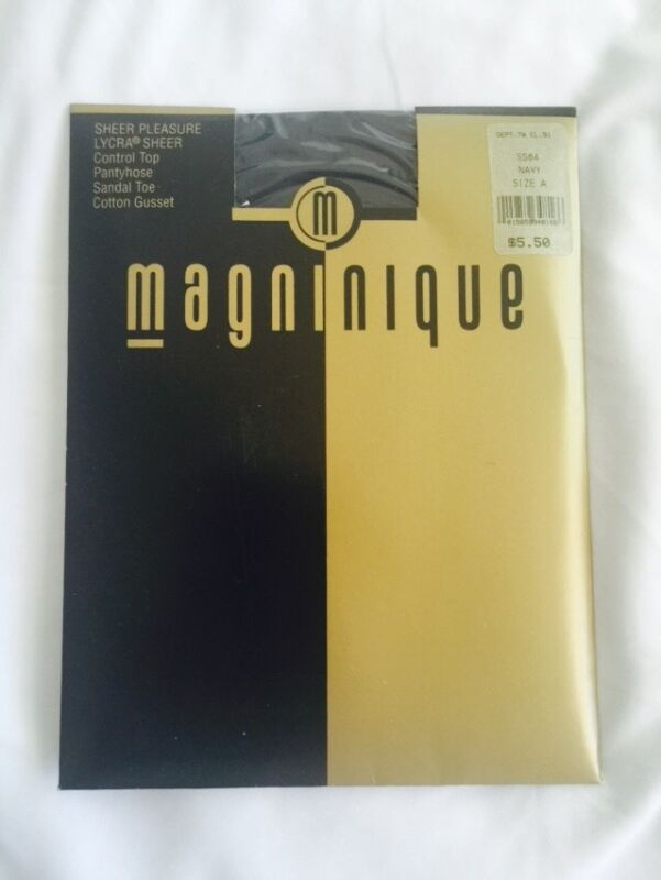 Magninique Sheer Pleasure Control Top Pantyhose Sandal Toe Navy Size A