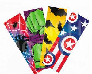 Pack-of-12-Superhero-Theme-Bookmarks-Reading-Teacher-Books-Party-Bag-Fillers