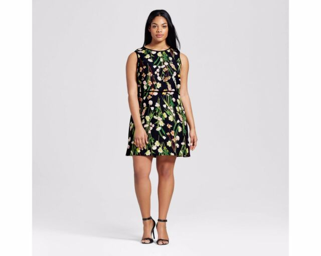 4ae43e64fa0fa1 Victoria Beckham for Target Dress English Satin Black Floral Plus Size 3x