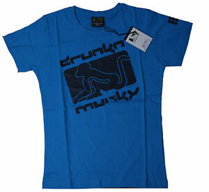 DRUNKNMUNKY-T-shirt-Blue-tg-S-M-L-XL-NUOVO-conf-orig-d7405-1