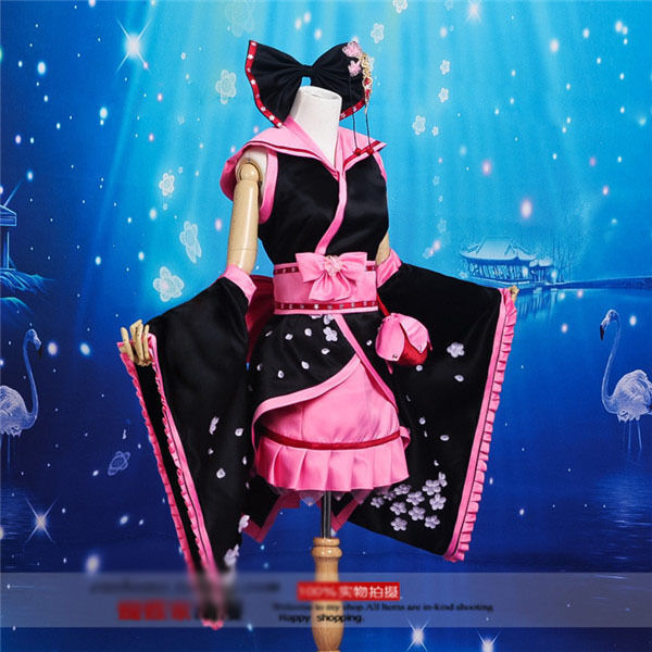 Vocaloid Hatsune Miku Cosplay Costume Black and Pink Kimono Free Shipping